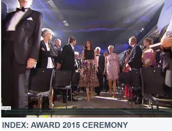 Kronprinsessen ankommer til Index Award 2015 i Helsingør